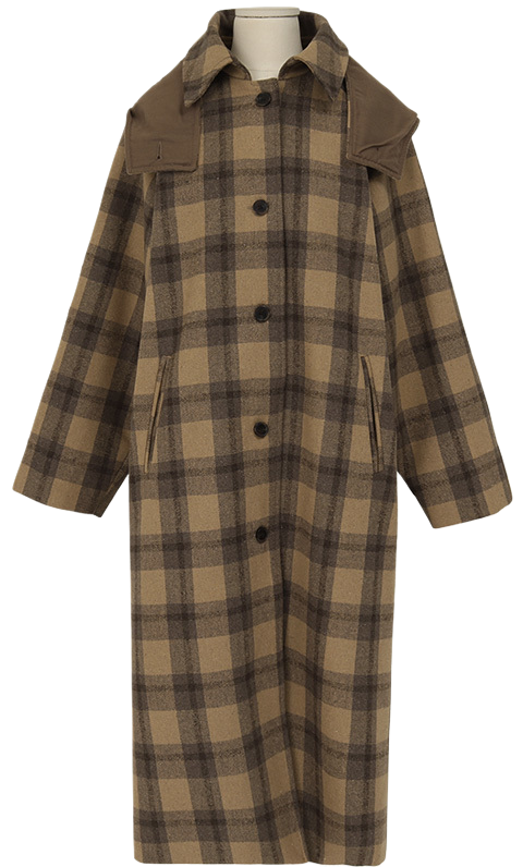 Hood check wool coat_A (size : free)