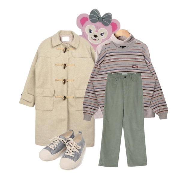 AIN all day suede sneakers (230-250),MIXXMIX Daily Duffle Coat,peachpicnic 유니콘 컷팅 티셔츠등을 매치한 코디