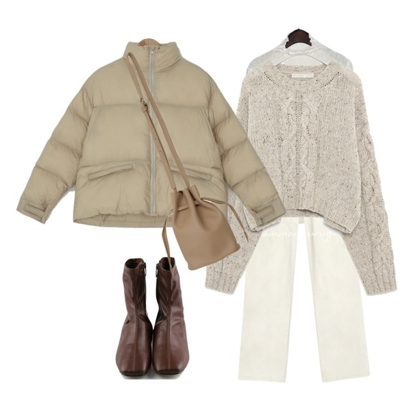 MOREDAY 레더 앵클 부츠 (4colors),AIN volly cable crop knit,From Beginning Bucken simple lucky bag_C (size : one)등을 매치한 코디