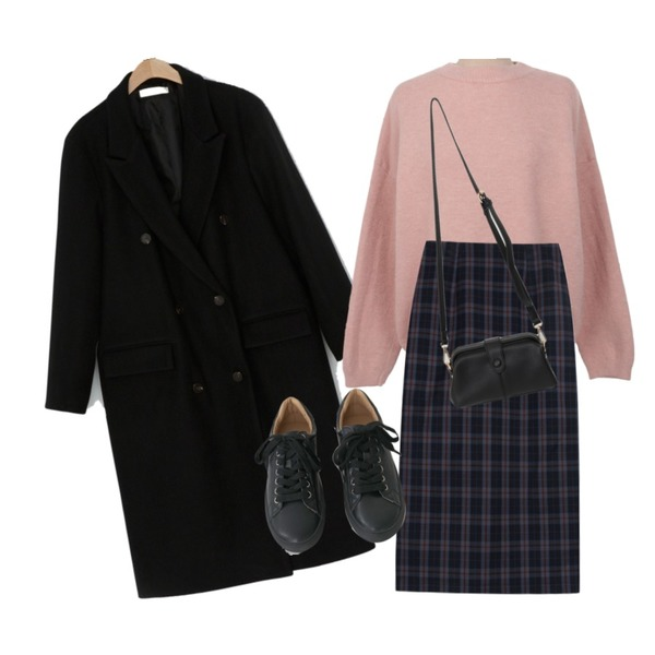 AFTERMONDAY tidy color leather sneakers (5colors),From Beginning Treed snap cross bag_J (size : one),biznshoe Classic check skirts (2color)등을 매치한 코디