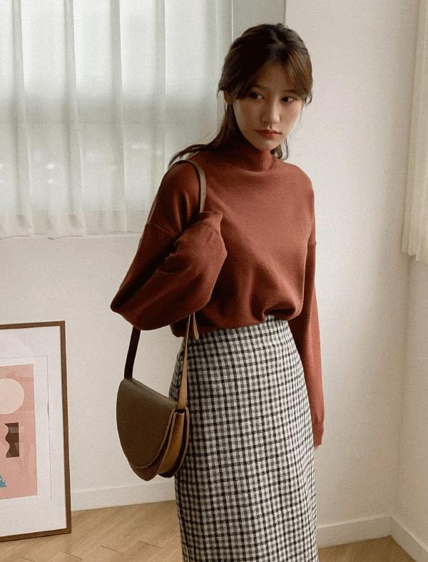 Daily loose fit half neck knit-knit