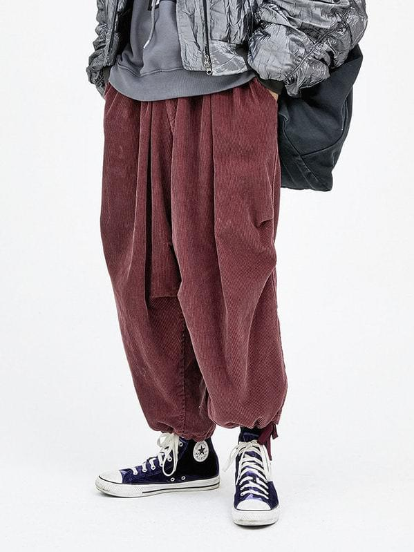 corduroy balloon pants - men 長褲