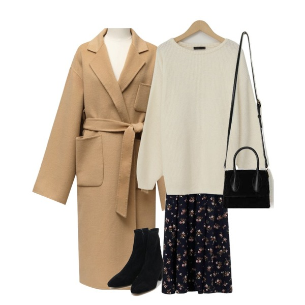 AIN softy suede ankle boots (225-250),From Beginning Made_ops-134_floret frill off ops_B (size : free),From Beginning Made_outer-126_pocket handmade coat_M (울 50%) (size : free)등을 매치한 코디