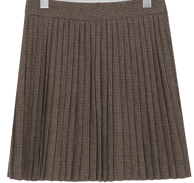 Check pleats wool skirt_H (size : S,M)