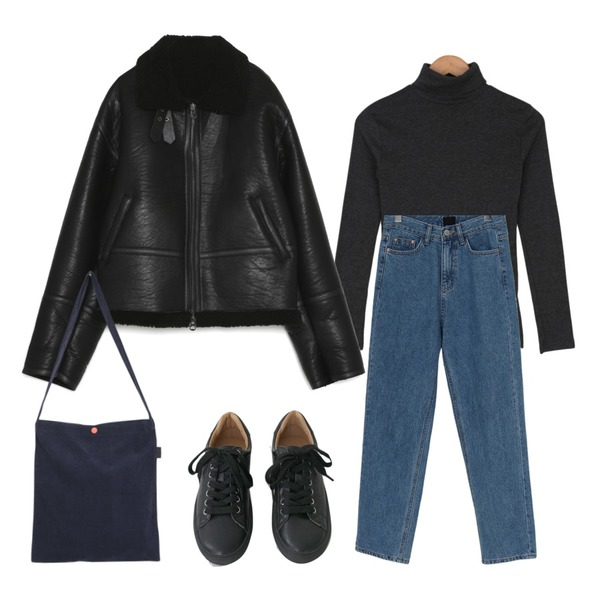 AFTERMONDAY tidy color leather sneakers (5colors),moaol corduroy easy color bag (4colors),From Beginning At warm denim pants_Y (기모) (size : S,M,L)등을 매치한 코디