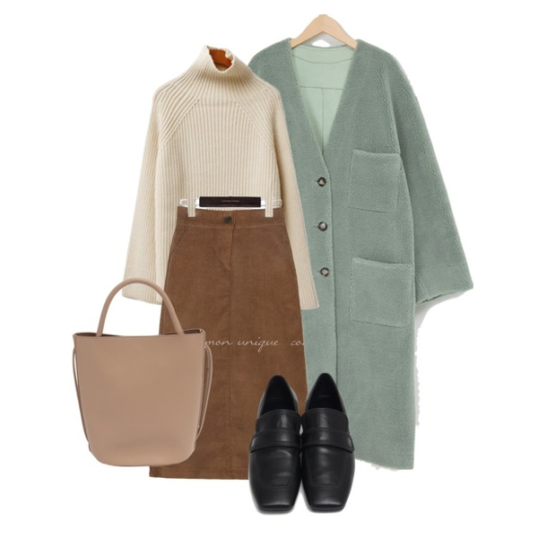From Beginning Lander two-way bag_C (size : one),From Beginning Marco stitch flat loafer_J (size : 225,230,235,240,245,250),common unique CORDUROY SLIT BANDING LONG SKIRT등을 매치한 코디