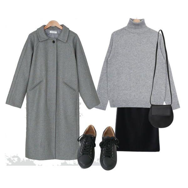AFTERMONDAY tidy color leather sneakers (5colors),Zemma World 소프트캐시 폴라니트,AFTERMONDAY classic mood wool skirt (4colors)등을 매치한 코디