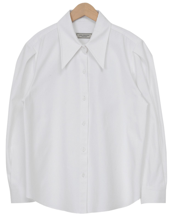 Sharp collar puff shirts (size : free)