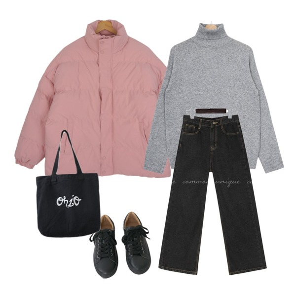 AFTERMONDAY tidy color leather sneakers (5colors),common unique F/W CANMORE WIDE DENIM PANTS,AFTERMONDAY casual printing eco bag (3colors)등을 매치한 코디
