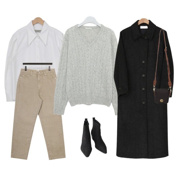 BANHARU 체크패턴 싱글 코트 - ct,AIN noble cable v-neck wool knit,AFTERMONDAY basic western ankle boots (2colors)등을 매치한 코디