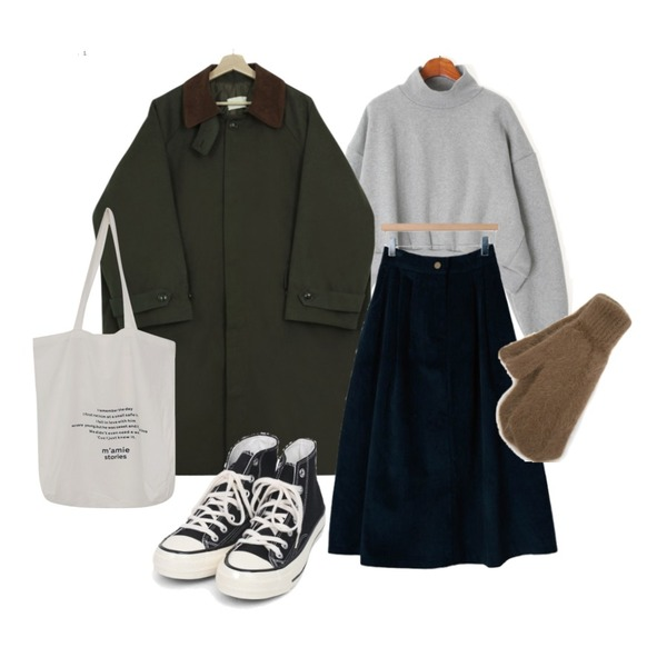AIN angora cute gloves,From Beginning Light lettering eco bag_H (size : one),AIN colouring high canvas sneakers (225-250)등을 매치한 코디