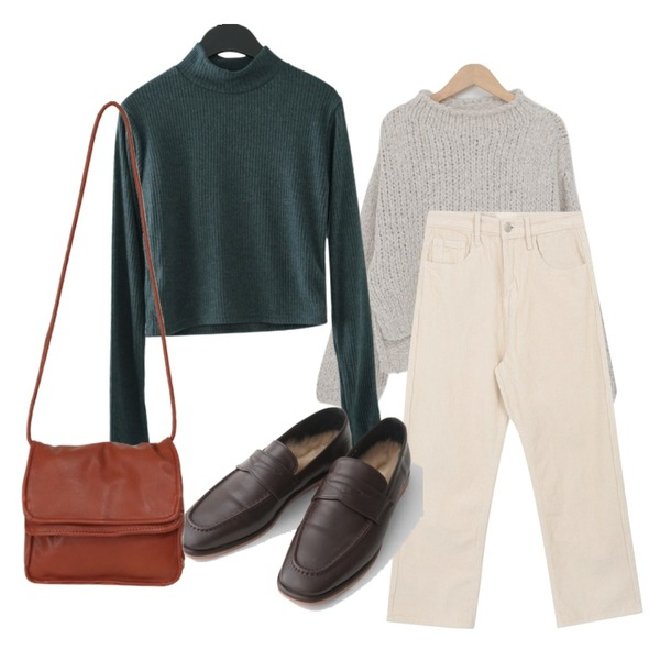 AFTERMONDAY inner fake fur loafer (3colors),AFTERMONDAY ribbed top cardigan set (3colors),From Beginning Fold cover cross bag_J (size : one)등을 매치한 코디