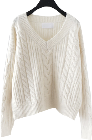deep V-neck twist loose knit 針織衫