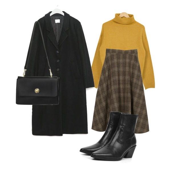 openthedoor slim shape leather ankle boots (3 color),From Beginning Rectangle flat cross bag_H (size : one),AWAB 더스체크플레어울스커트등을 매치한 코디