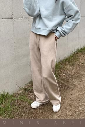 Heavy Winter Wide Banding Pants-Beige pants