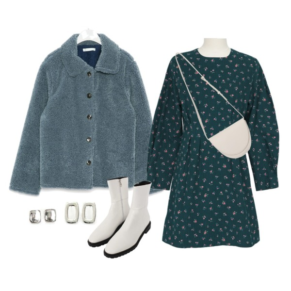 ROCOSIX 헤둔 4SET 이어링,From Beginning Second round shape bag_C (size : one),biznshoe Rubber sole ankle boots (4colors)등을 매치한 코디