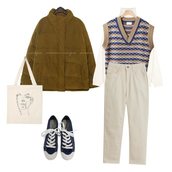AIN unique drawing eco bag,openthedoor raglan sleeve pola knit (4 color) - UNISEX,TODAY ME 카나 팬츠등을 매치한 코디