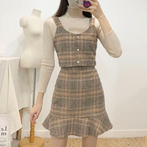 Linz Check Bustier Skirt SET 2colors