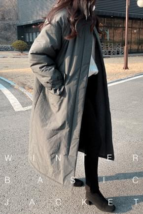 Snow Fleece Long Padded Coat * Khaki Beige zip_up