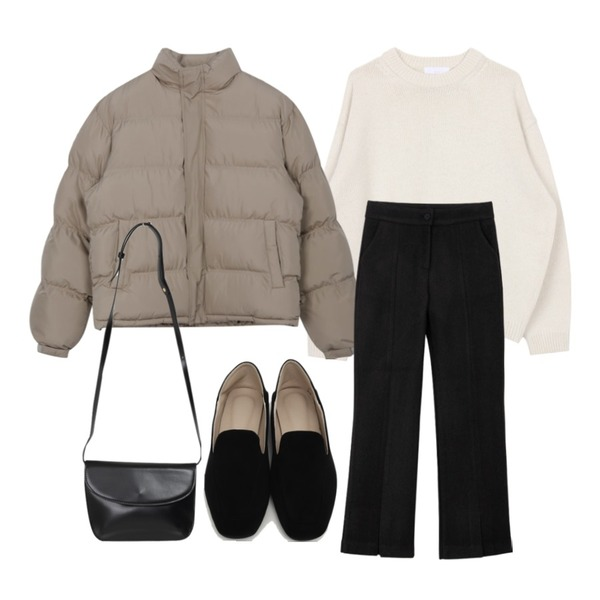 From Beginning Gram suede simple loafer_Y (size : 225,230,235,240,245,250),biznshoe Wool boxy knit (4colors),From Beginning Daily soft cross bag_J (size : one)등을 매치한 코디