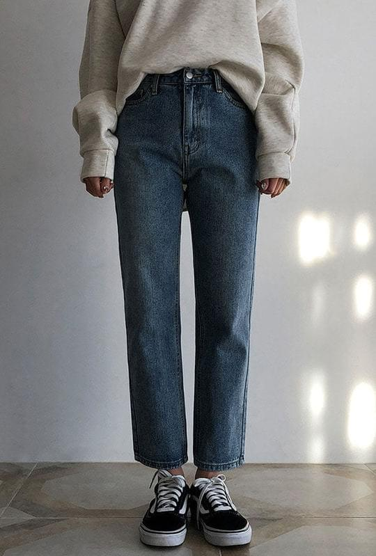 Standard brushed denim pants