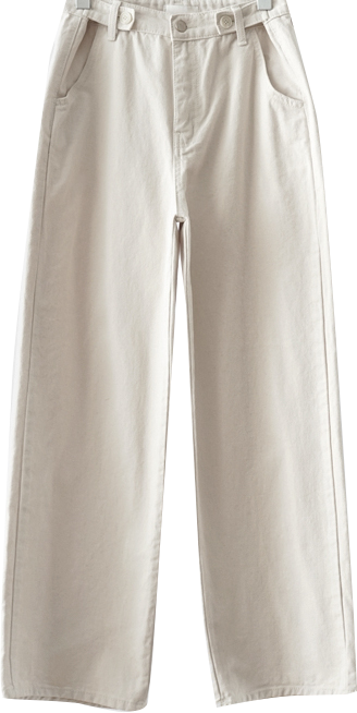 straight fluffy button pants