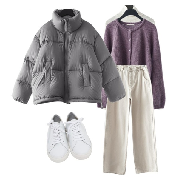 From Beginning Win real cowskin sneakers_H (size : 225,230,235,240,245,250),AFTERMONDAY soft round alpaca cardigan (4colors),AFTERMONDAY light duck down padding jumper (3colors)등을 매치한 코디