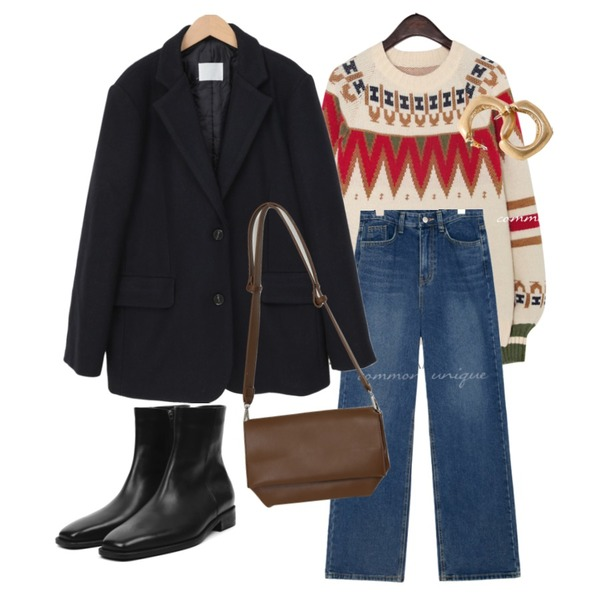 openthedoor cow hide ankle boots - men,From Beginning Glide daily cross bag_P (size : one),From Beginning Mark wool boxy jacket_U (울 50%) (size : free)등을 매치한 코디