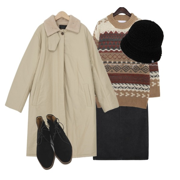 common unique LOTE NORDIC LOOSE FIT ROUND KNIT,From Beginning Dumble collar long jumper_J (size : free),MIXXMIX HIDE Fleece Bucket Hat (Ivory)등을 매치한 코디