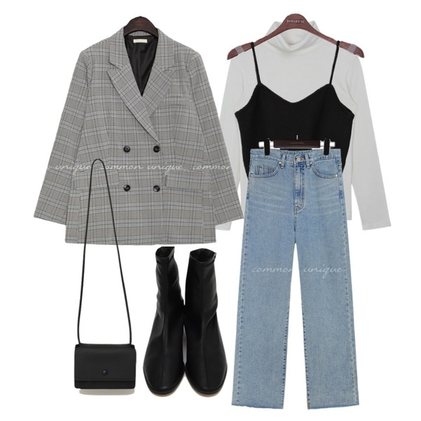 From Beginning Ride low heel ankle boots_C (size : 225,230,235,240,245,250),common unique MADRE CHECK DOUBLE JACKET,From Beginning Day mini cross bag_U (size : one)등을 매치한 코디