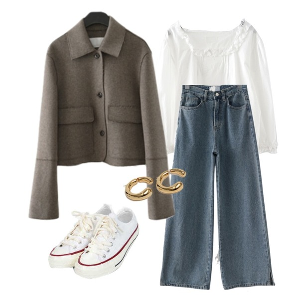 AIN taylor canvas sneakers (225-250),From Beginning Connect vintage earring_C (size : one),AFTERMONDAY minimal mood short jacket (3colors)등을 매치한 코디