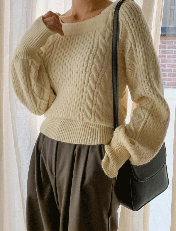 Square neck puff sleeve wool knit-knit