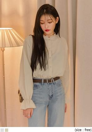 ROELS FRILL COTTON BLOUSE