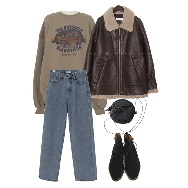 AFTERMONDAY petit round string bag (3colors),From Beginning Vintage printing warm mtm_P (기모) (size : free),From Beginning Wide long denim pants_J (size : S,M,L)등을 매치한 코디