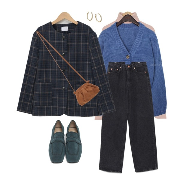 From Beginning Marco stitch flat loafer_J (size : 225,230,235,240,245,250),From Beginning Leyden wool round jacket_A (울 70%) (size : free),From Beginning Brill suede shirring bag_J (size : one)등을 매치한 코디