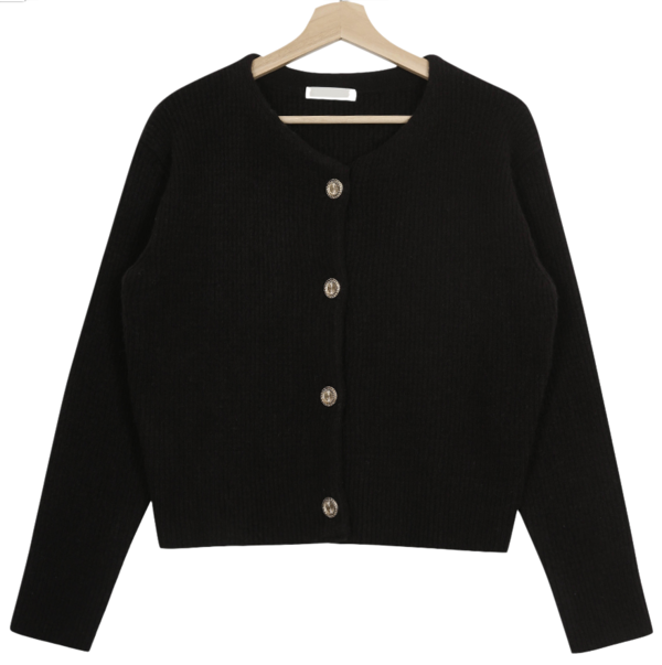 Ornament gold button wool cardigan