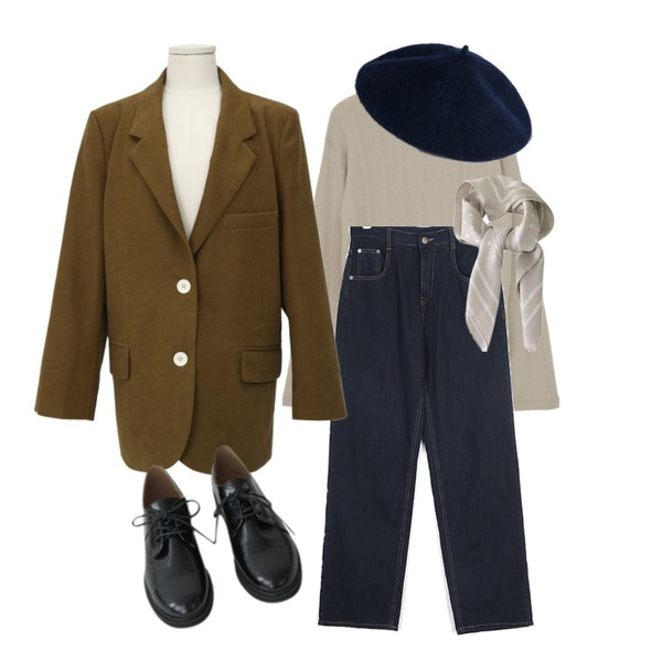 BITDA 도트 scarf (3color),AFTERMONDAY glossy daily oxford shoes,AIN berg wide denim pants (s, m, l)등을 매치한 코디