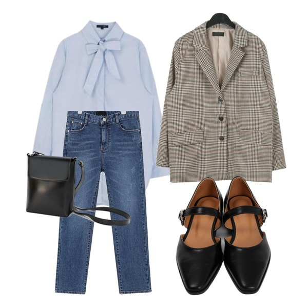 MIXXMIX Ribbon Tie Long Shirt,daily monday Tidy square shoulder bag,From Beginning Sharp toe mary-jane shoes_K (size : 225,230,235,240,245,250)등을 매치한 코디
