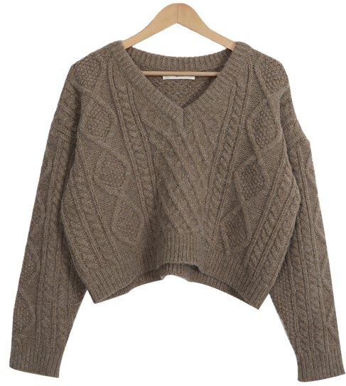 Cable Wool Cropped Knit