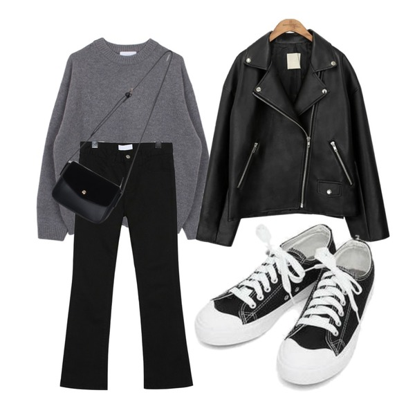 biznshoe Wool boxy knit (3color),common unique BLACK PLAT RIDER JACKET,AIN basic monday sneakers (230-250)등을 매치한 코디