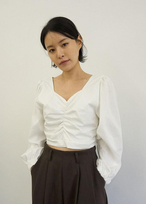 Shirred cropped blouse