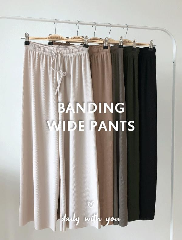 Banding wide pants J