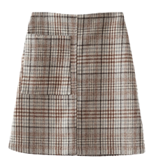 soft check middle skirt skirt
