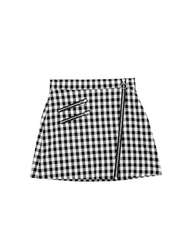 SALE o-ring check mini skirt - woman