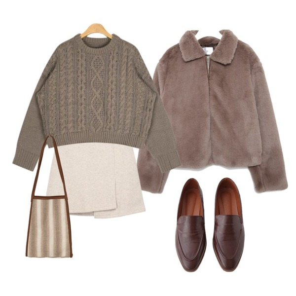 MIXXMIX Unbalanced Warm Skirt,AIN drop round cable knit,AFTERMONDAY vintage mood loafer (3colors)등을 매치한 코디