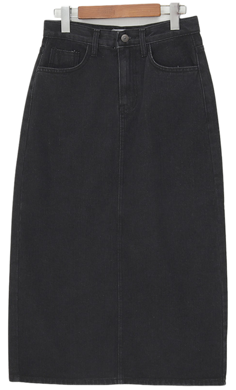 Back slit denim skirt_J 裙子