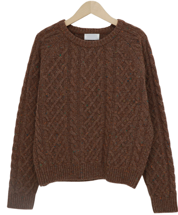 Cross cable wool knit_H (size : free)