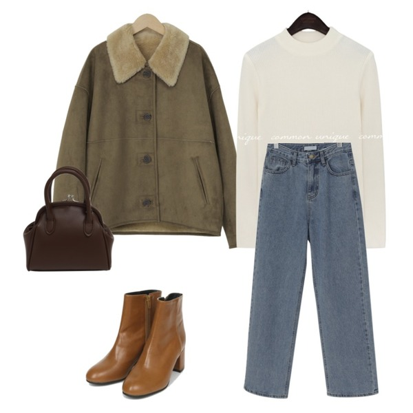AIN basic leather ankle boots (225-250),From Beginning Coin two-way strap bag_C (size : one),From Beginning Wide long denim pants_J (size : S,M,L)등을 매치한 코디