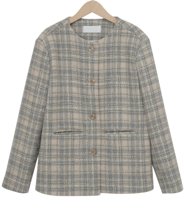 Chloe check wool jacket_Y (울 50%) (size : free)