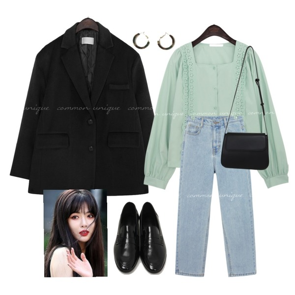 AFTERMONDAY gradation ring earrings (2colors),common unique VINT WOOL SINGLE JACKET - 2 TYPE,From Beginning Glossy enamel slim loafer_U (size : 225,230,235,240,245,250)등을 매치한 코디
